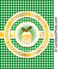 groene, boek, kerstmis, recept