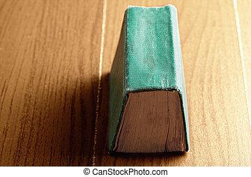 groene, boek, op, hout, ruggegraat, op
