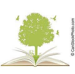 groene, boek, open, boompje