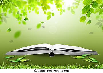 groene, boek, open, natuur
