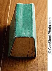 groene, boeken ruggegraat, op