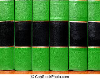 groene, boekjes , op, plank