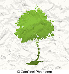 groene, boom., verfrommeld papier