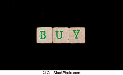 groene, brieven, op, oud, houten blokken, (buy)