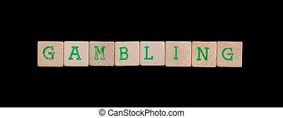 groene, brieven, op, oud, houten blokken, (gambling)