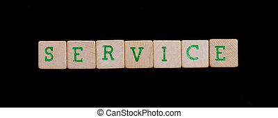 groene, brieven, op, oud, houten blokken, (service)