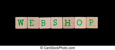groene, brieven, op, oud, houten blokken, (webshop)