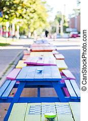 groene, checkerboard, picknicklijst