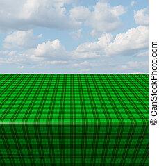groene, checkered tafelkleed