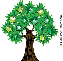 groene, concept, boompje, middelen