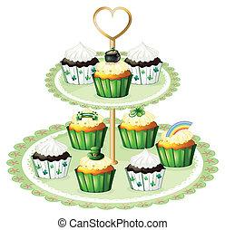 groene, cupcakes, met, een, stander