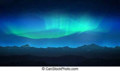 groene, dageraad, op, nacht, bergen, lus