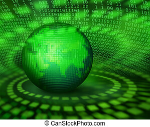 groene, digitale , pixel, planeet