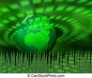 groene, digitale , planeet