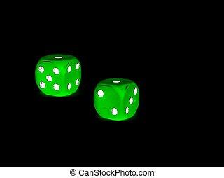 groene, dobbelsteen