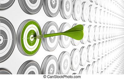 groene, doel, hitted, door, een, groene, pijl, met, velen,...
