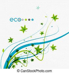 groene, eco, conceptueel, bladeren, op wit, ontwerp