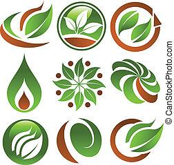 groene, eco, iconen