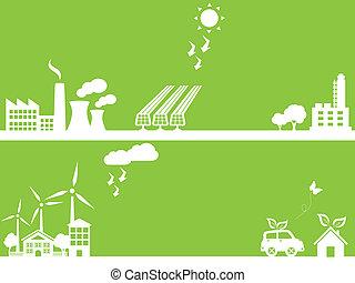 groene, eco, vriendelijk, stad