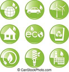 groene, ecologie, en, milieu, pictogram