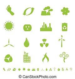 groene, ecologie, en, milieu, symbolen