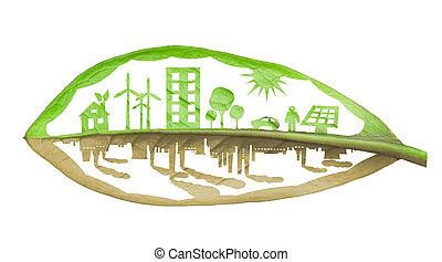 groene, ecologie, stad, tegen, vervuiling, concept, vrijstaand, op, whit