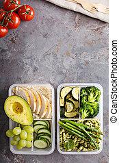 groene, en, gezonde maaltijd, prep, containers, met,...