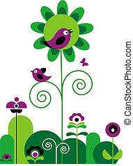 groene, en, purpere bloemen, met, swirls, met, vlinder, en, vogels
