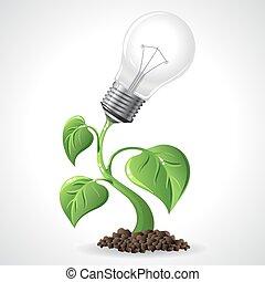 groene, energie, concept, -, macht, besparing, gloeilampen