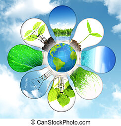 groene, energie, concept, -, sparen, groene planeet
