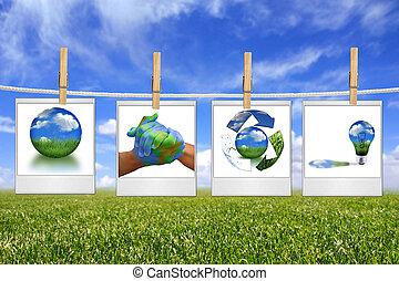 groene, energie, oplossing, beelden, hangend, een, koord
