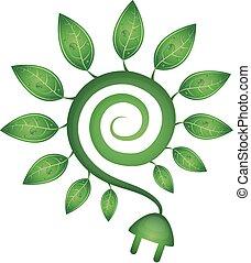 groene, energie, symbool