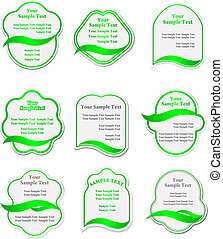 groene, etiketten, set