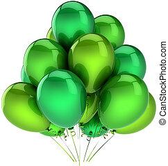 groene, feestje, ballons, versiering