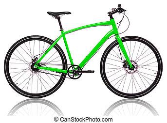 groene, fiets, vrijstaand, op, een, witte