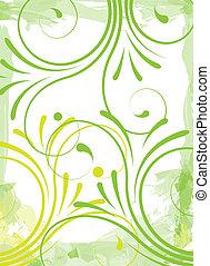 groene, floral, achtergrond