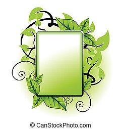 groene, frame, blad