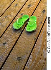 groene, gek worden afgangen, voor, zomer, op, oud, hout, dek