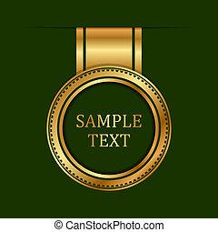 groene, goud, achtergrond, etiket