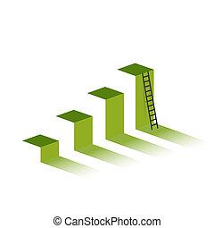 groene, grafiek, met, ladder, om te, berg, peak.
