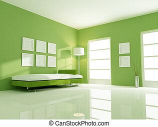 groene, helder, kamer