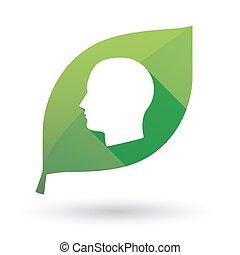 groene, hoofd, blad, menselijk, pictogram