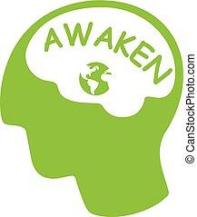 groene, hoofd, silhouette, woord, aarde