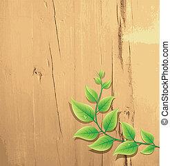 groene, hout, blad, achtergrond, fris
