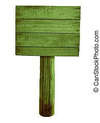 groene, hout, wegaanduiding, vrijstaand, op wit