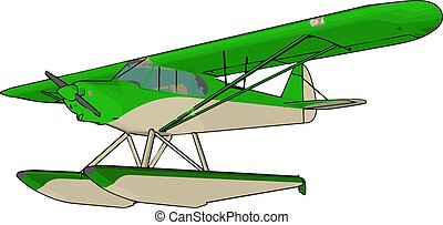 groene, illustratie, witte , vector, achtergrond., seaplane