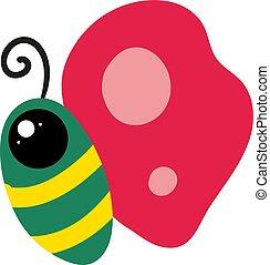 groene, illustratie, witte , vlinder, vector, achtergrond.