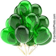 groene, jarig, ballons, doorschijnend