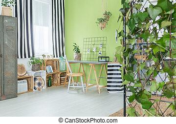 groene, kamer, met, planten