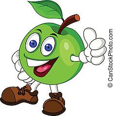 groene, karakter, appel, spotprent